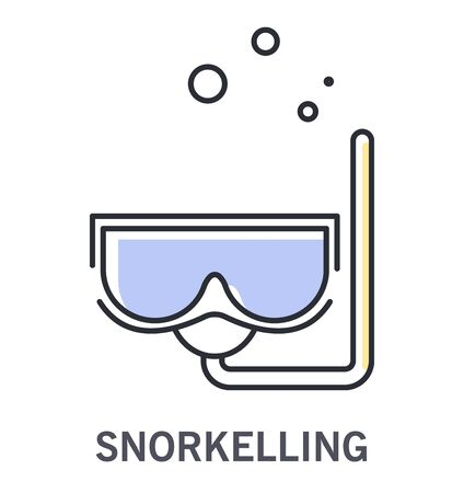 Snorkelling icon with snorkel mask and water bubbles