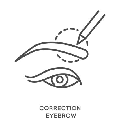 Eyebrow correction with brow line shaping treatment icon Ilustrace