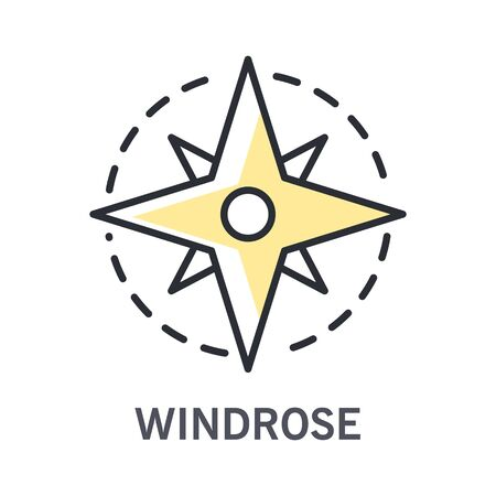 Windrose icon with compass rose linear illustration and text Vettoriali