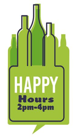 Happy hour with green bottles of alcohol and time specified Illusztráció