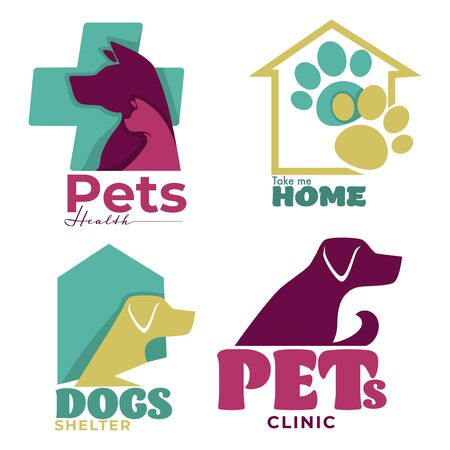 Pets health veterinary clinic and dogs shelter logo designs Ilustrace