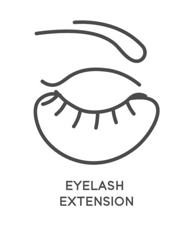 Eyelash extension cosmetic services icon. Closed eyes with eye patch beneath lashes and eyebrows. Professional beauty salon procedure. Linear, minimal graphic vector illustration on white background.