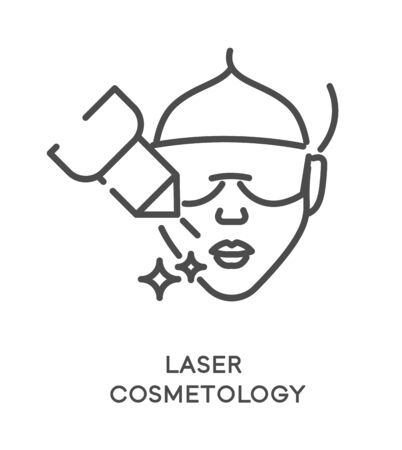 Laser cosmetology treatment icon and female face with eye mask Archivio Fotografico - 133433871