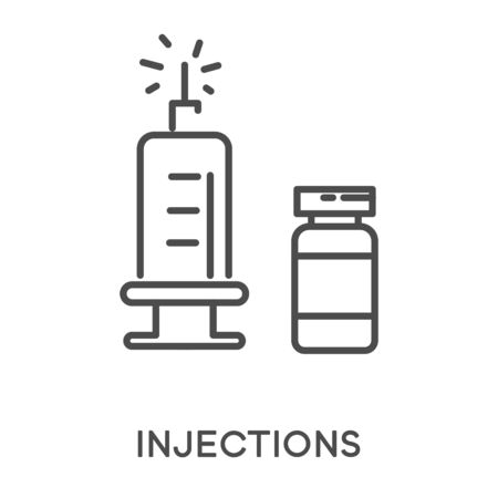 Injections with syringe and medicine glass vial icons. Medical drug in liquid form to be injected. Vaccination, pharmacology linear, minimal graphic vector illustration on white background.