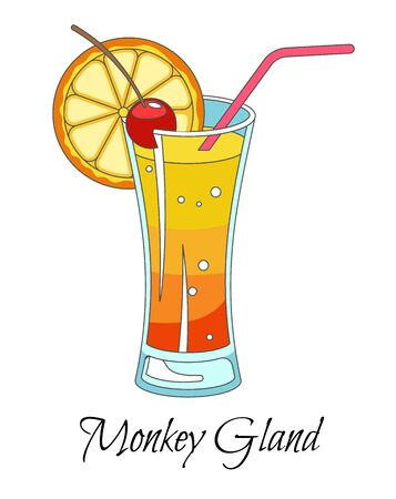 Monkey gland cocktail with red straw and slice of orange Illustration