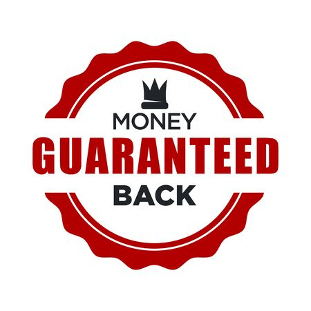 Money back guaranteed red stamp template with crown icon Ilustração