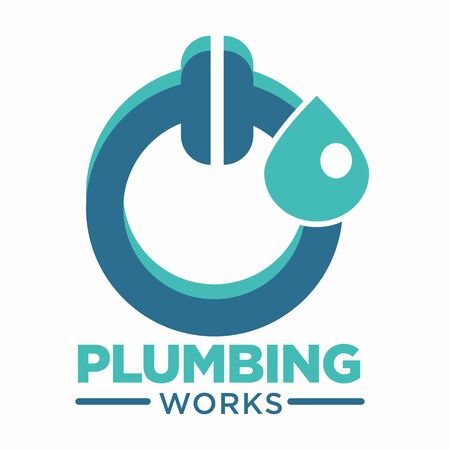 Plumbing works logo with toilet plunger and water drop