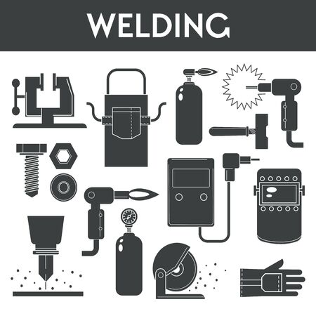 Welding equipment banner template with welder tools icons and text
