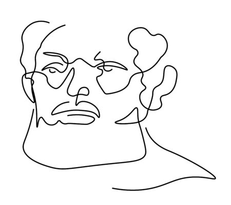 Continuous one line sketch portrait of older man with beard