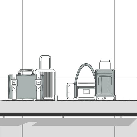 Various travel bags on baggage carousel at terminal airport