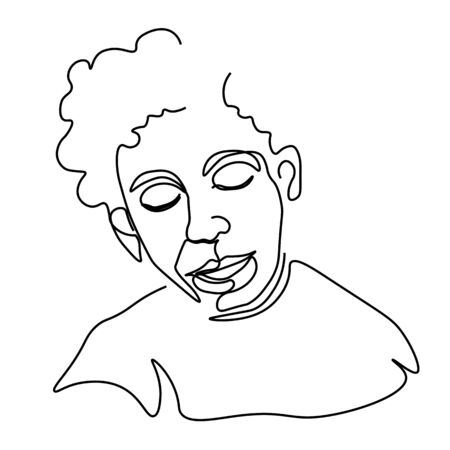 Continuous one line sketch portrait of man with curly hair