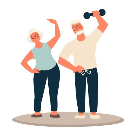 Seniors, older couple working out together. Granny and grandpa with white hair and eyeglasses, holding weights, smiling. Active in any age. Fit elderly people and health concept. Vector illustration. Vettoriali