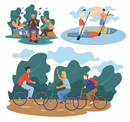 Male friends summer sport outdoors activities. Camping at nature, bicycle riding, stand up paddle boarding. Friendship pastime leisure and guys hanging out. Holidays vacations vector illustrations.