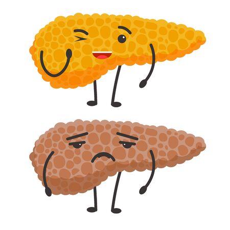 Healthy vs sick liver human organs condition comparison
