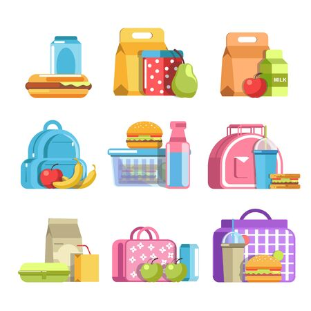 School lunch boxes with kids snacks in containers and drinks Ilustração Vetorial