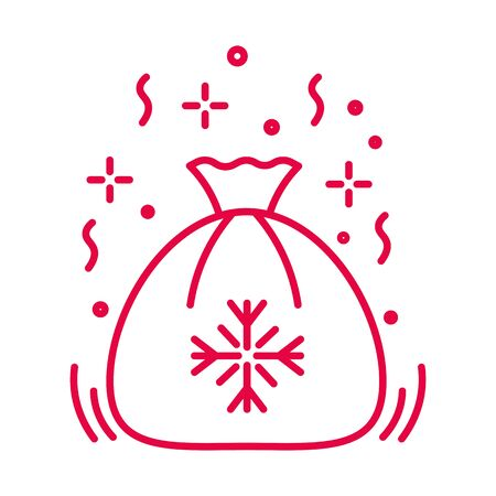 Santa sack with Christmas presents linear icon in red Illustration