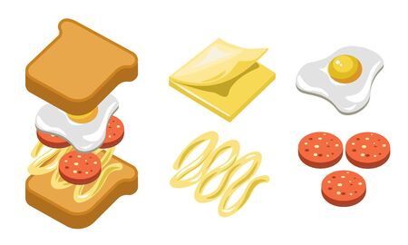 Pepperoni sandwich ingredients and separate layers shown for recipe Ilustracja