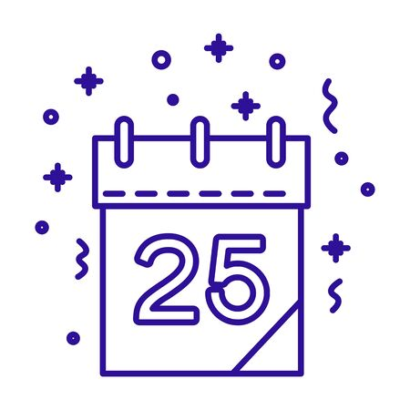 Christmas day calendar with date number and confetti linear icon Stock Illustratie