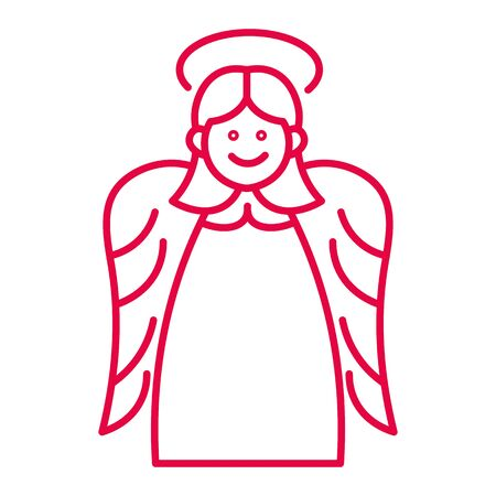 Christmas angel with halo and wings liner icon in red 版權商用圖片 - 133435249
