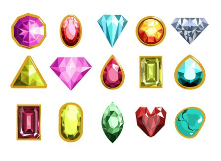 Gemstones and precious stones of different cutting styles and colors