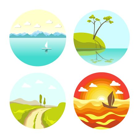 Abstract picturesque seascapes and landscape in round icons