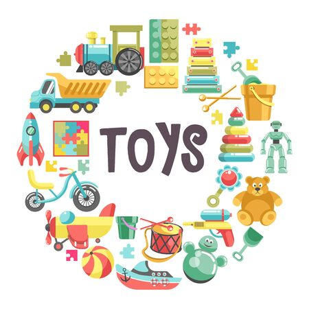 Kids toys banner with colorful icons set in circle Çizim