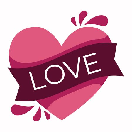 Pink heart icon with ribbon and word love on top Illusztráció
