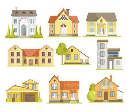 Ensemble de maisons et de bâtiments résidentiels de banlieue de styles différents Vecteurs