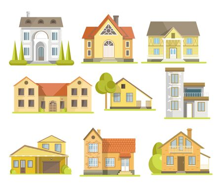 Houses and suburban residential buildings of different styles set Vector Illustration