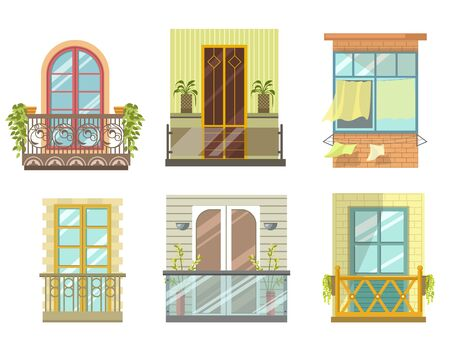 Balconies in various styles front view set collection
