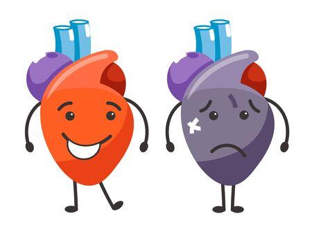 Healthy vs sick heart human organs condition comparison Ilustração