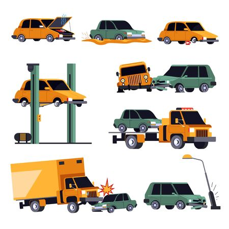 Car crash or road accident isolated icons, vehicle insurance