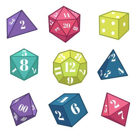 Dadi e poliedri per giochi di ruolo fantasy, attrezzature per giochi da tavolo Vettoriali