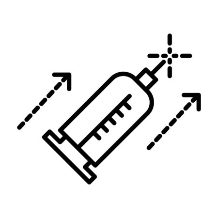 Beauty injection, syringe isolated line icon, medicine and cosmetology