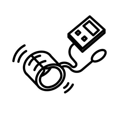 Sphygmomanometer or blood pressure meter isolated line icon Stock Illustratie
