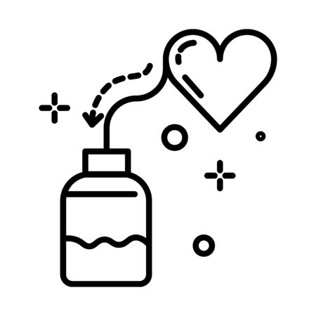 Heart pills bottle, cardiology isolated line icon, cardiology