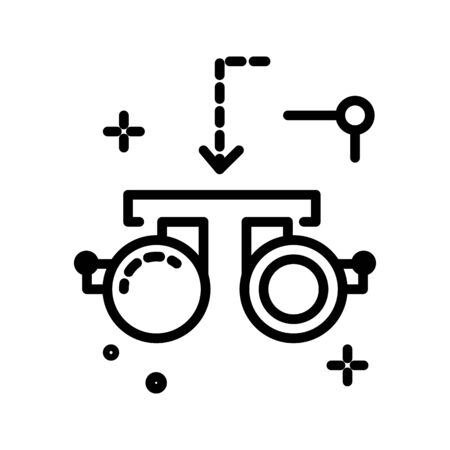 Opththalmology office equipment, eye test goggles isolated line icon
