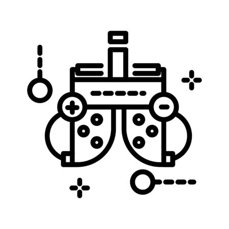 Ophthalmology clinic equipment, optometrist office equipment isolated line icon Stock Illustratie