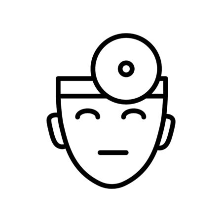 Doctor head, ophthalmologist with head mirror isolated line icon
