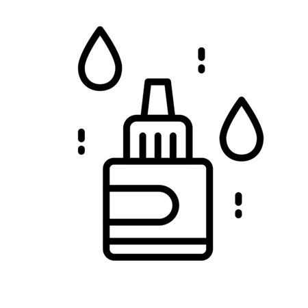 Nasal, eye or ear drops bottle isolated line icon