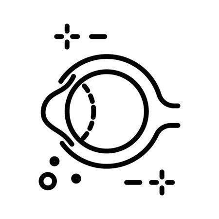 Eye anatomy and human eyeball structure isolated line icon