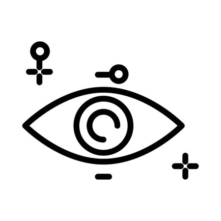 Eye isolated outline icon, human vision organ, ophthalmology