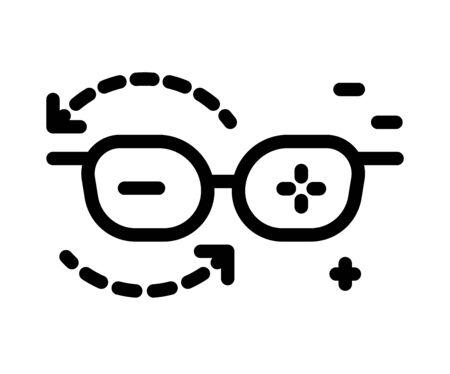 Eyesight glasses, plus and minus lenses, isolated line icon Stock Illustratie