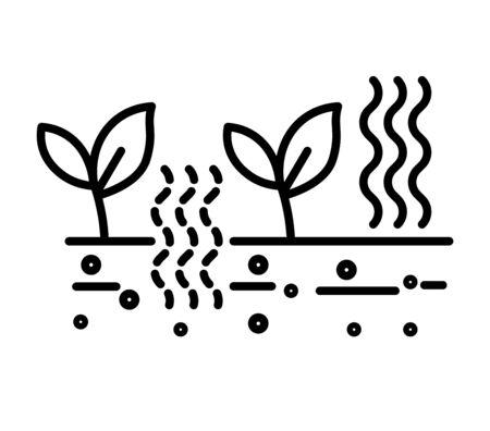 Piantare e agricoltura, fertilizzare il suolo e testare l'icona della linea isolata Vettoriali