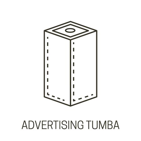 Advertising tumba or banner stand isolated line icon Illustration