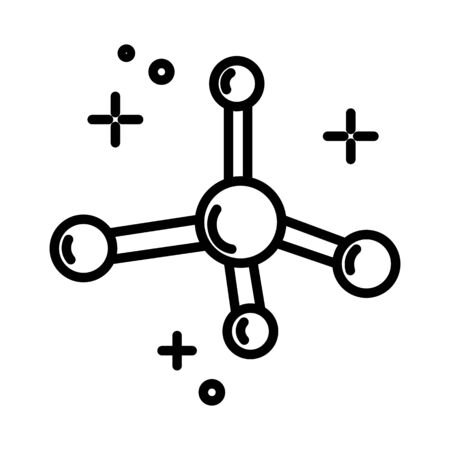 Chemistry science, molecule model isolated line icon, molecular structure