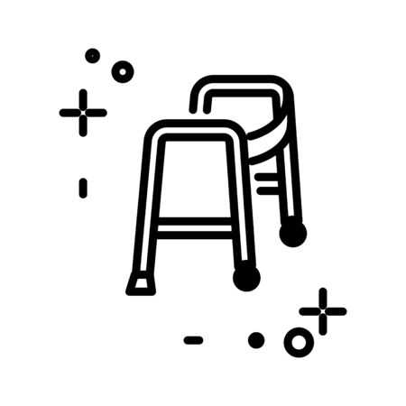 Walker isolated line icon, medical equipment, injury rehabilitation