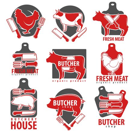 Meat products, butcher shop or house isolated icons
