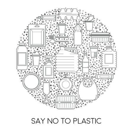 No plastic, disposable tableware usage reduction isolated icon Illusztráció