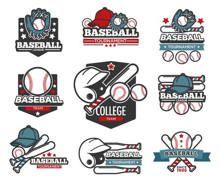 Baseball tournament isolated icons, sporting items, bat and ball